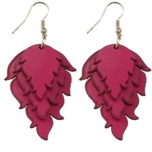 Berry Triple Stacked Leather Earrings